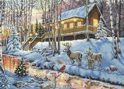 DIMENSIONS THE GOLD COLLECTION-Winter Cabin-Counted Cross St