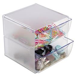 Two Drawer Cube Organizer, Clear Plastic, 6 x 7-1/8 x 6