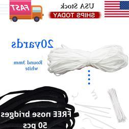 U.S 10-20 Yards 3mm Round Soft Elastic Band Cord Ear Hanging
