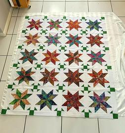 Unfinished Quilt Top  Multicolor Batik on White Approx.  53'