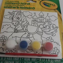 Crayola Unicorn Kids Paint Your Own Canvas Brush and 4 Paint