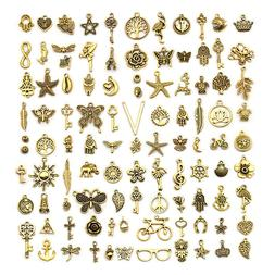 Vintage Golden Color Charms for Jewelry Making, 100 Style Pe