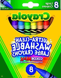 Crayola Washable Crayons, Large, 8 Colors/Box