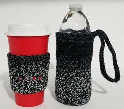 Water Bottle & Coffee Cup Cozy Handmade Crochet 2 Pc. Set Br