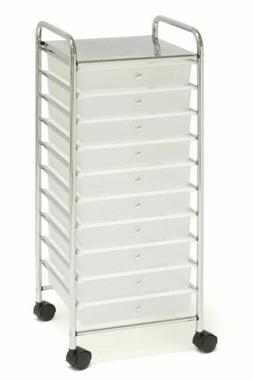 White 10 Drawers Rolling Storage Cart Organization Plastic S