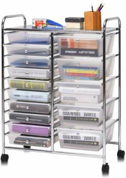 White Frost 15 Drawer Organizer Cart Chrome Rolling Storage