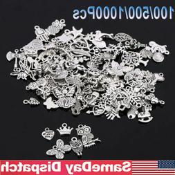 Wholesale 100 -1000Pcs Bulk Mixed Silver Charms Pendants for