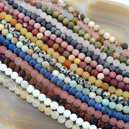 Wholesale Natural Matte Gemstone Round Spacer Loose Beads 4m