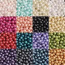Wholesale Round Glass Pearl Loose Crafts Beads lot 3/4/5/6/8
