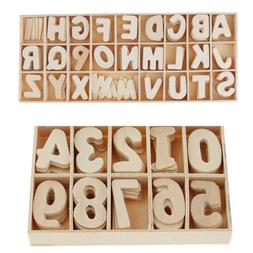 Wood Embellishments Wooden Numbers Letters Set Scrapbooking