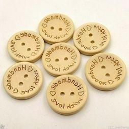 """Wooden """"Handmade & Love"""" Buttons Crafting Sewing Closures Co"""